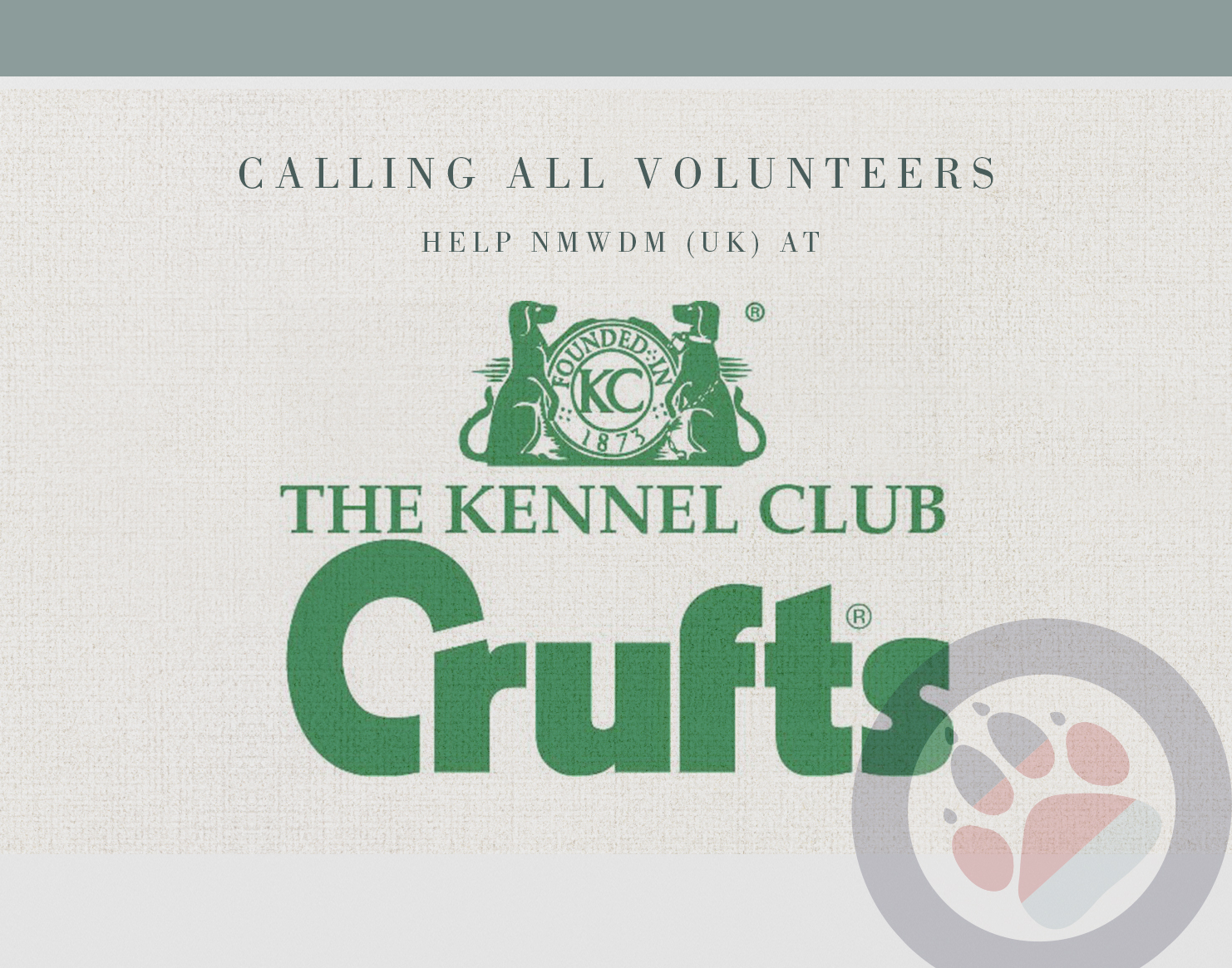 Volunteers needed to help at Crufts